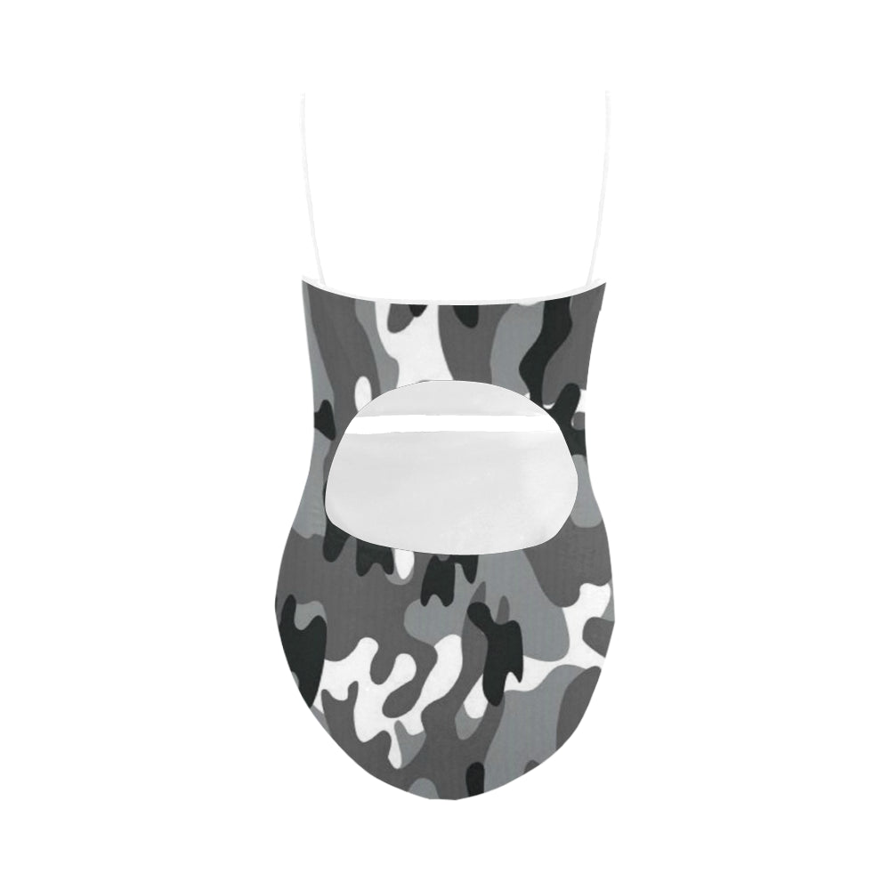 Camo Black White Dreamer White Strap Swimsuit