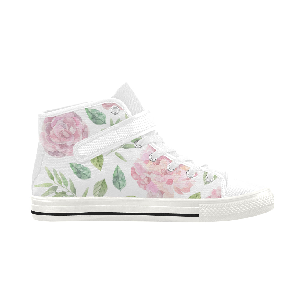 Pink Floral White Strap High Top Canvas Women's White Shoes - I Am A Dreamer