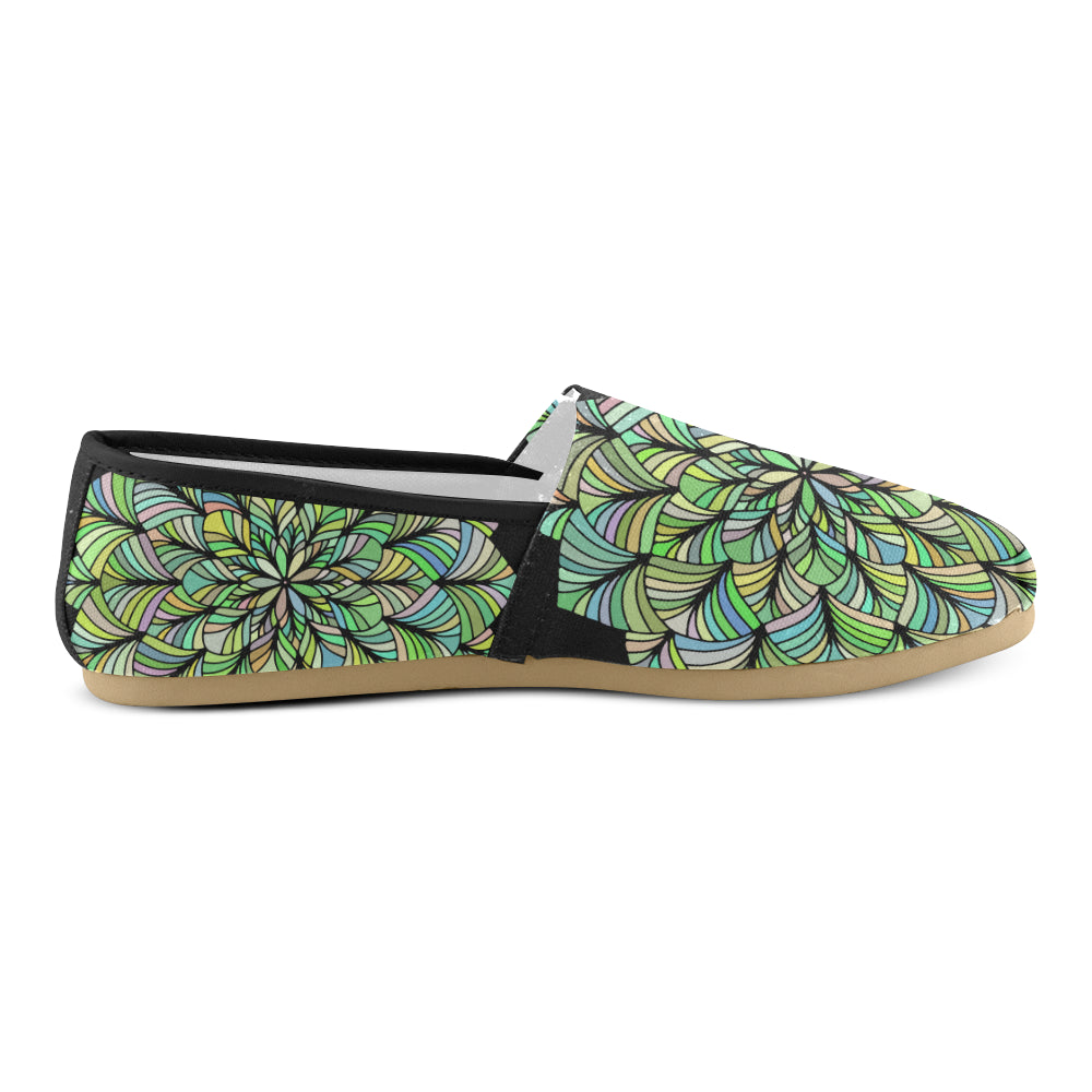 Green Yellow Colors Floral Mandala Women's Casual Shoes - I Am A Dreamer