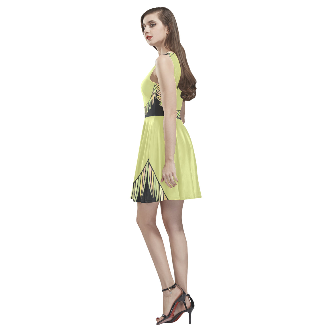 Elegant Fashion Yellow Sapte Designer Sleeveless Skater Dress - I Am A Dreamer
