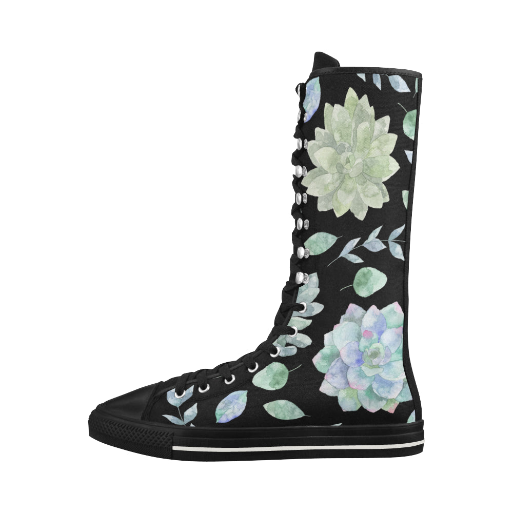 Fashion Floral Theme Black Canvas Long Boots For Women - I Am A Dreamer