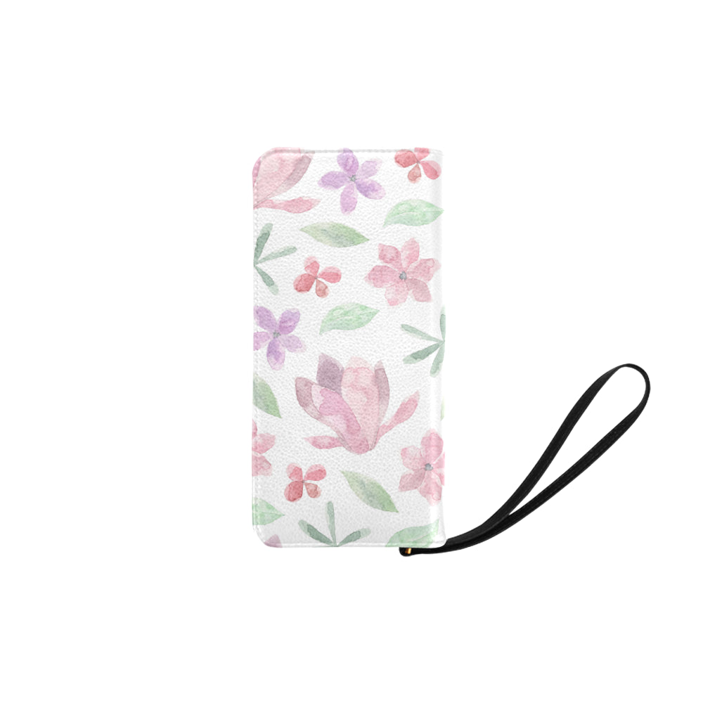 Purple Pink Floral White Women's Clutch Purse - I Am A Dreamer