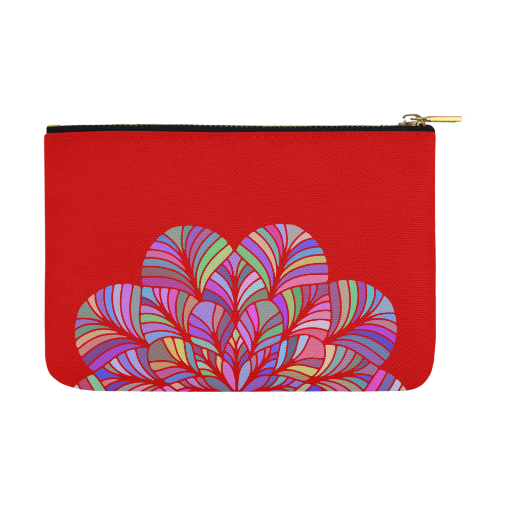 Dreamer Colors Floral Mandala Red Canvas Carry-All Pouch 12.5''x 8.5'' - I Am A Dreamer