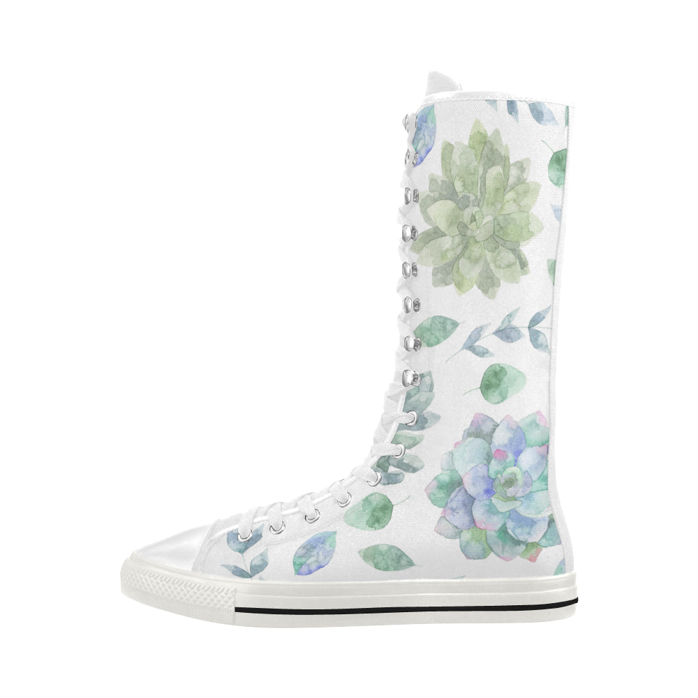 Fashion Floral Theme White Canvas Long Boots For Women - I Am A Dreamer