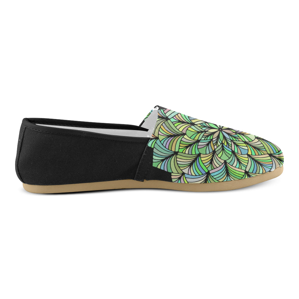 Green Yellow Colors Floral Mandala Black Back Women's Casual Shoes - I Am A Dreamer