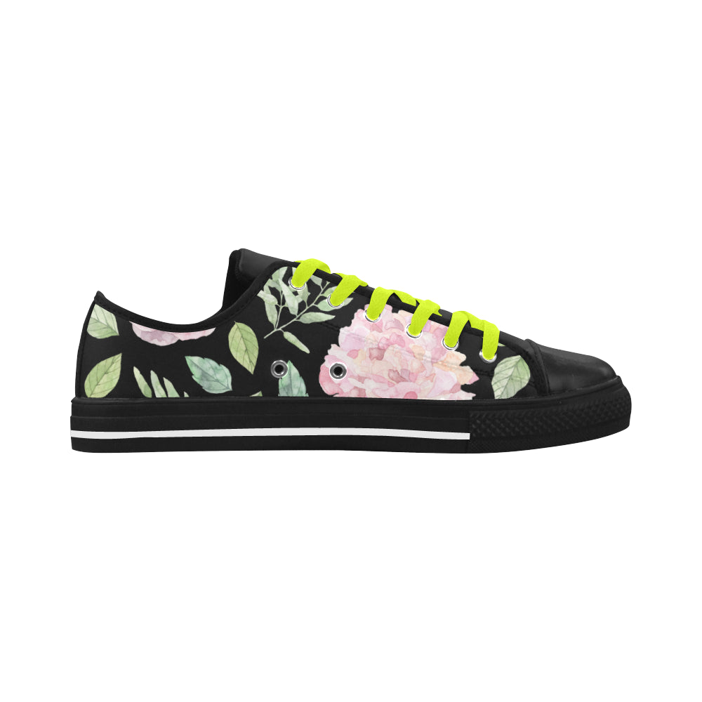 Floral Theme Black Aquila Action Leather Women's Shoes - I Am A Dreamer