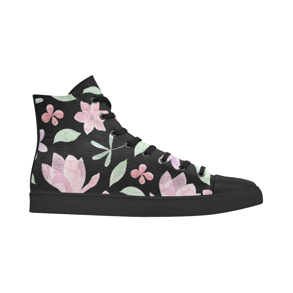 Floral Theme Black Andromeda High Top Action Leather Women's Shoes - I Am A Dreamer
