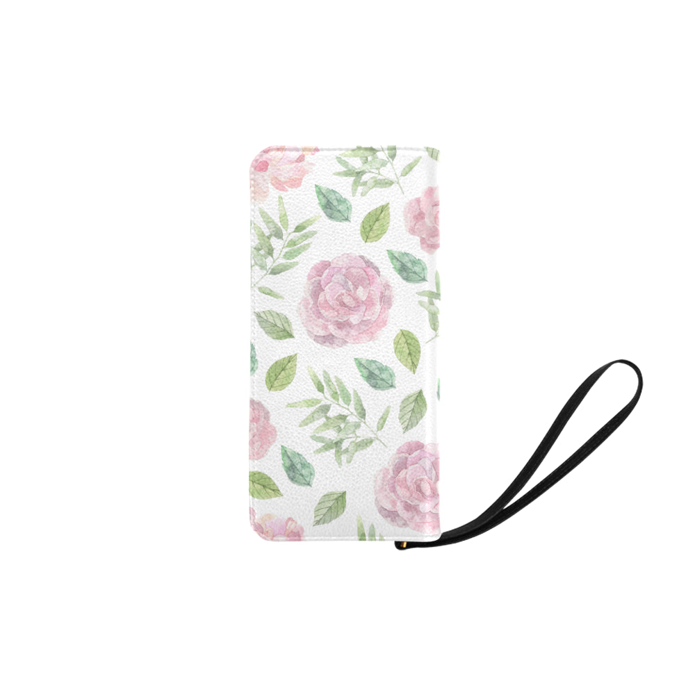 Pink Floral White Base Women's Clutch Purse - I Am A Dreamer
