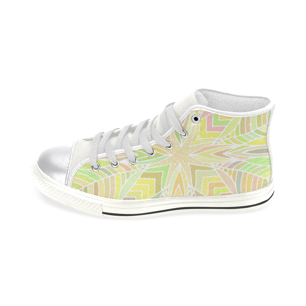 Light Green White Base Women's Classic High Top Canvas Shoes - I Am A Dreamer