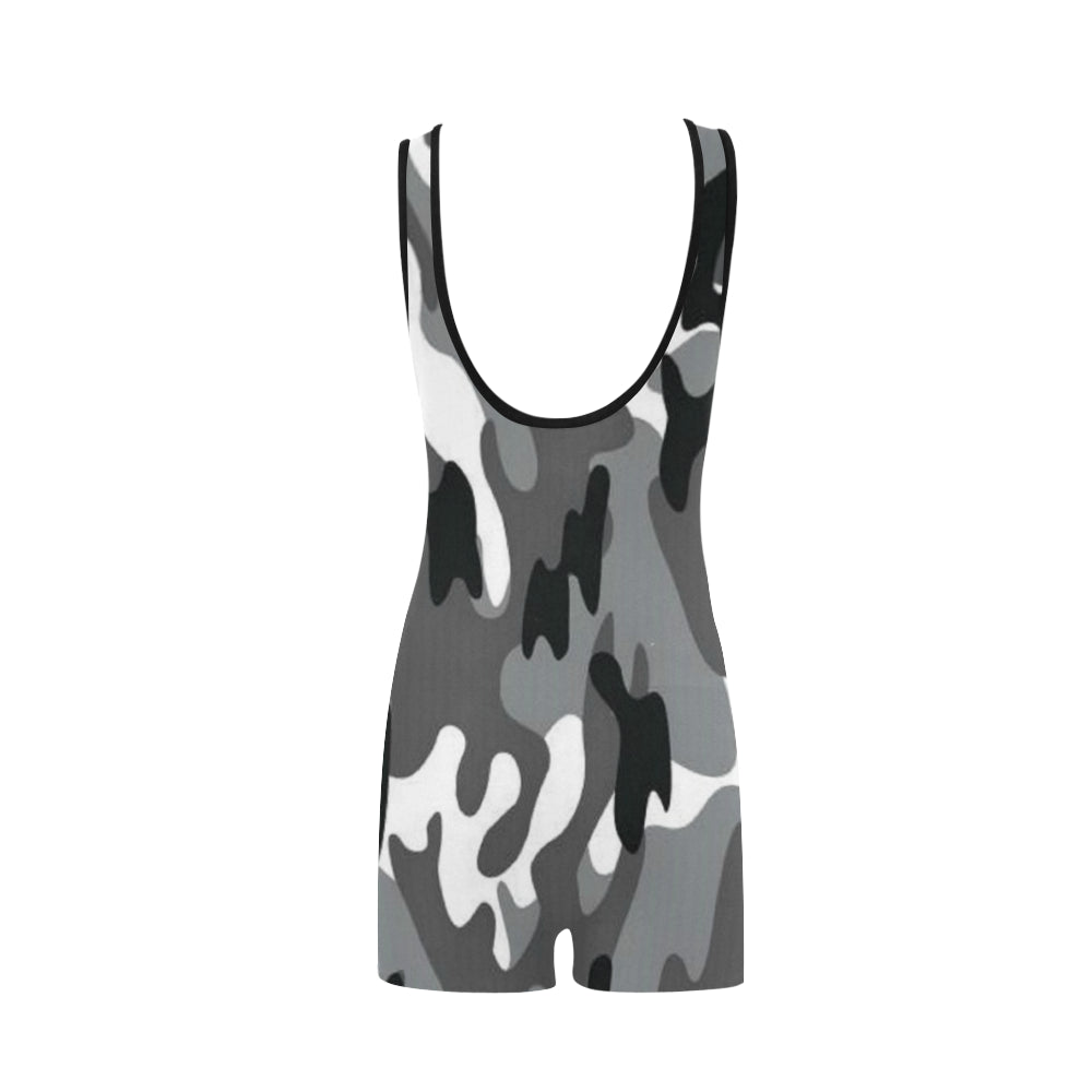 Camo Black White Classic One Piece Swimwear