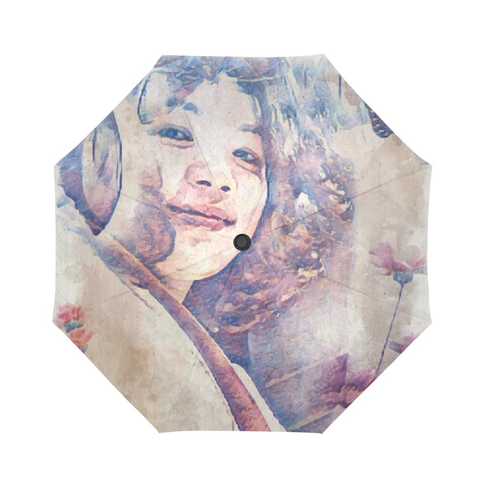Levi Thang Vintage Face Design V Auto-Foldable Umbrella
