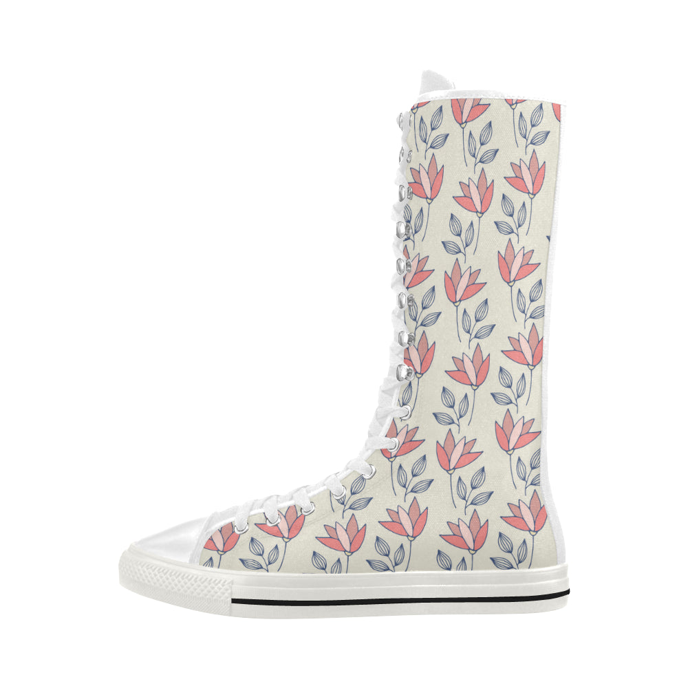Vintage Fashion Floral Theme Red Canvas Long Boots For Women - I Am A Dreamer
