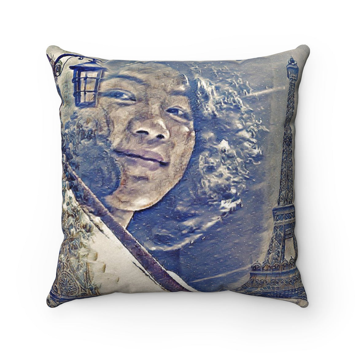 Levi Thang Vintage Face Design O Faux Suede Square Pillow Case