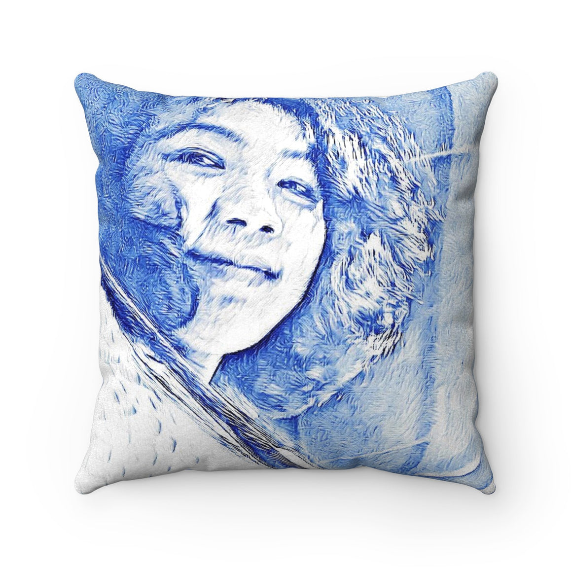 Levi Thang Vintage Face Design R Faux Suede Square Pillow Case