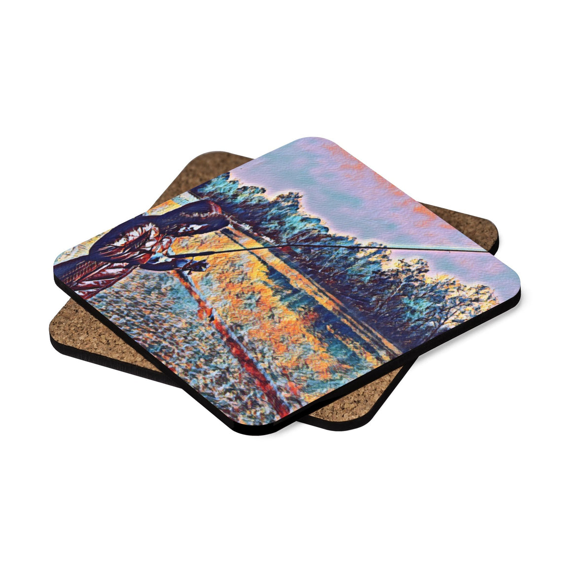 Levi Thang Fishing Design 10 Square Hardboard Coaster Set - 4pcs - I Am A Dreamer