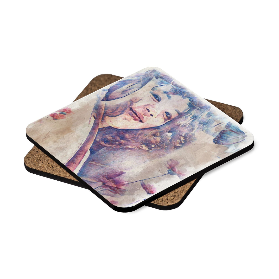 Levi Thang Vintage Face Design V Square Hardboard Coaster Set - 4pcs