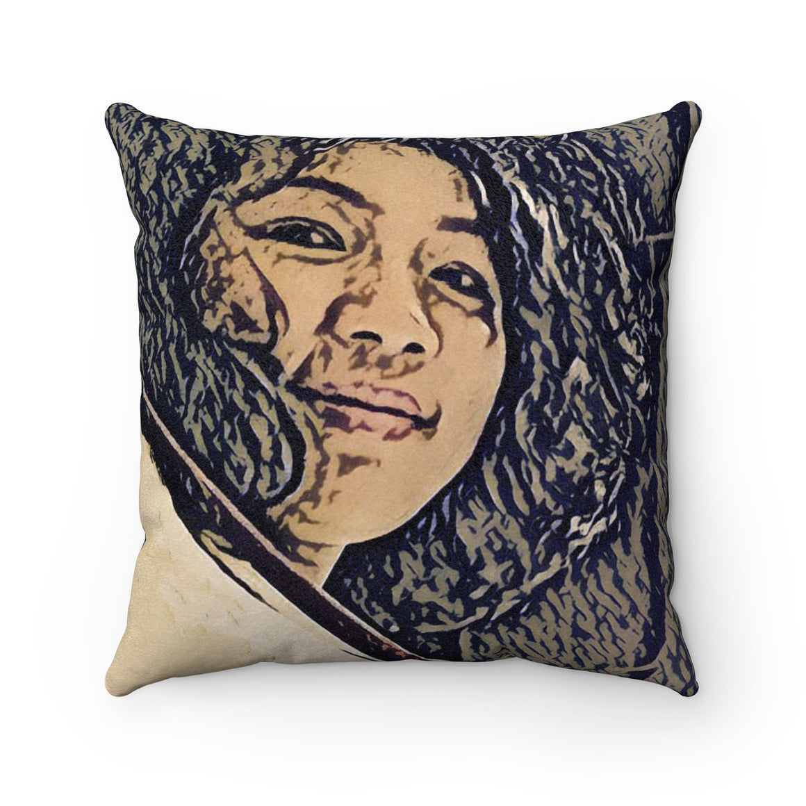 Levi Thang Vintage Face Design L Faux Suede Square Pillow Case