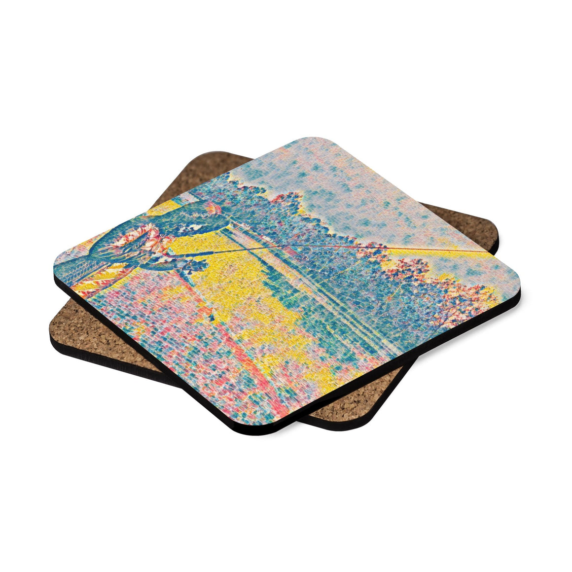 Levi Thang Fishing Design 15 Square Hardboard Coaster Set - 4pcs - I Am A Dreamer