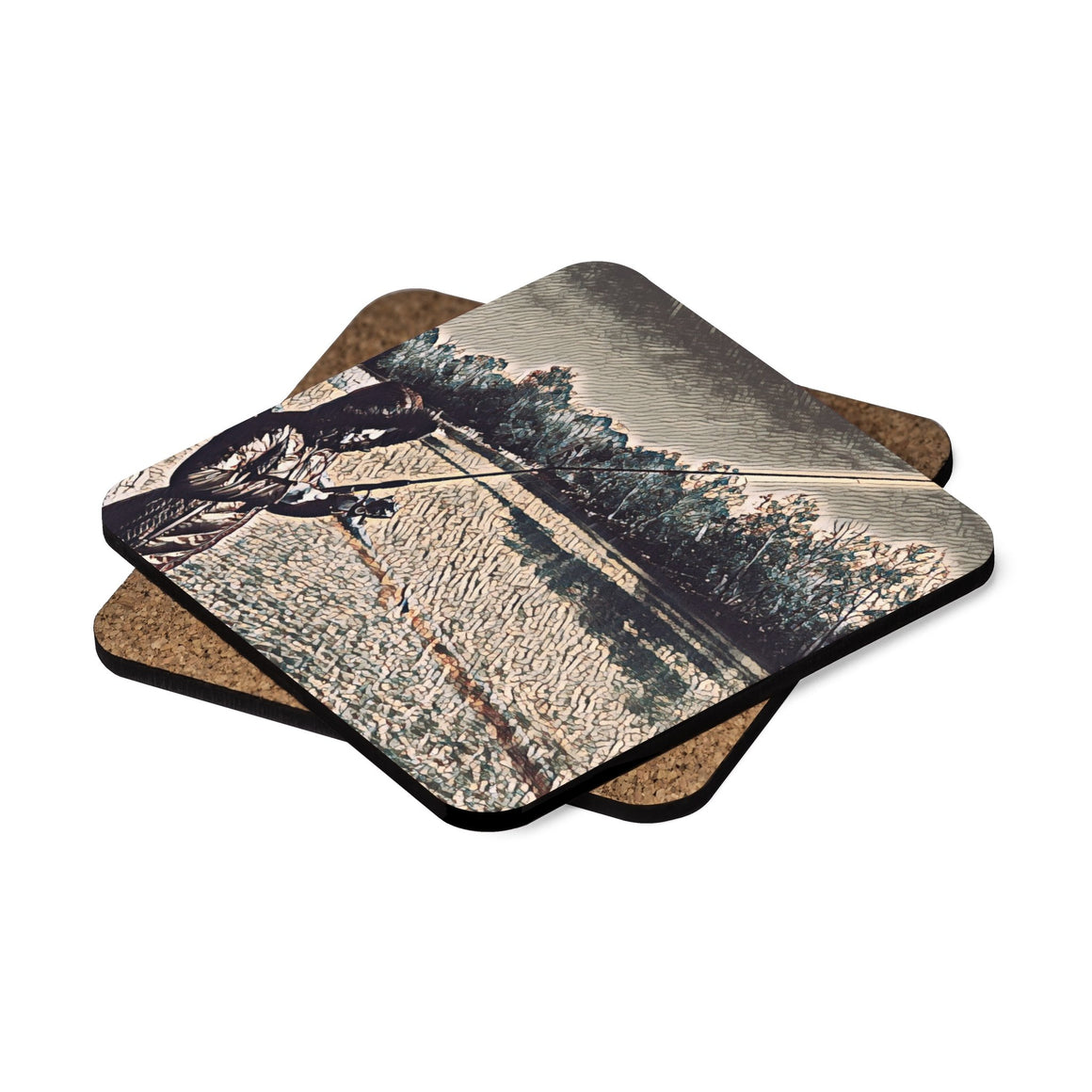 Levi Thang Fishing Design 20 Square Hardboard Coaster Set - 4pcs - I Am A Dreamer