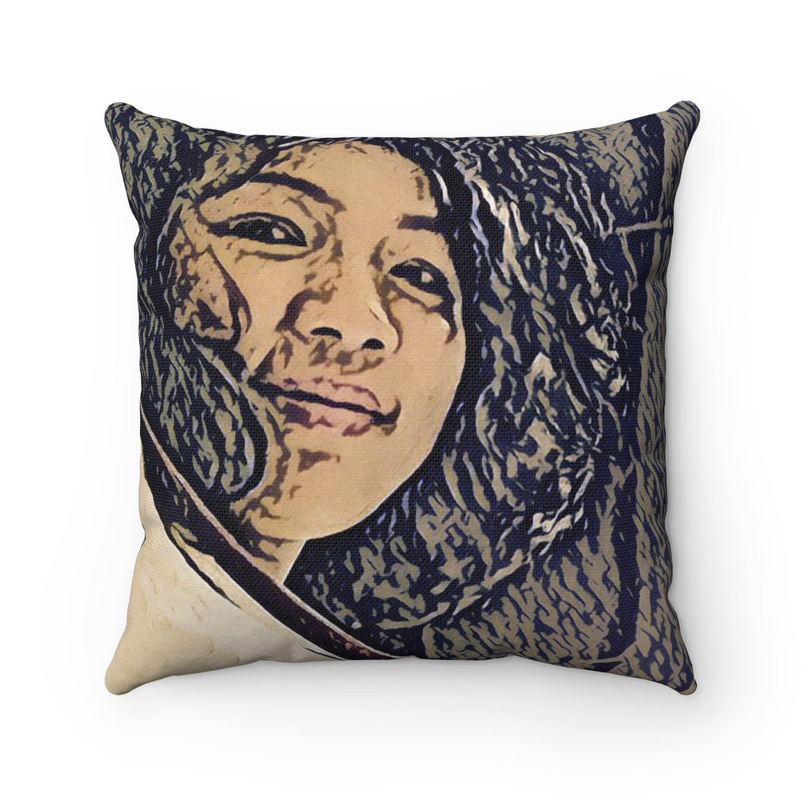 Levi Thang Vintage Face Design L Spun Polyester Square Pillow Case