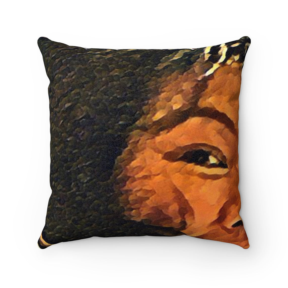 Levi Thang Vintage Face Design G Faux Suede Square Pillow Case