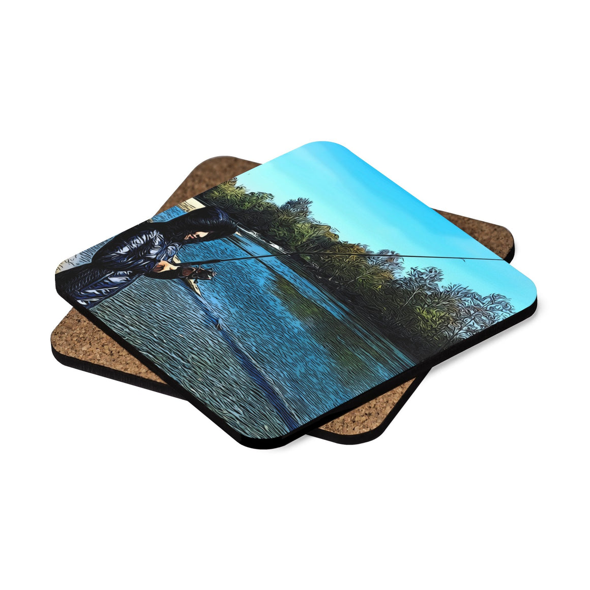 Levi Thang Fishing Design 25 Square Hardboard Coaster Set - 4pcs - I Am A Dreamer