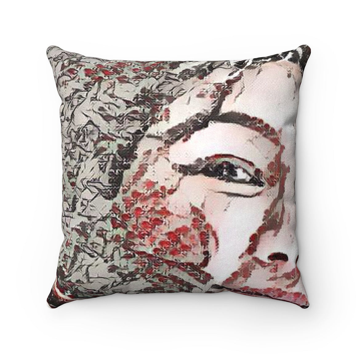Levi Thang Vintage Face Design F Faux Suede Square Pillow Case