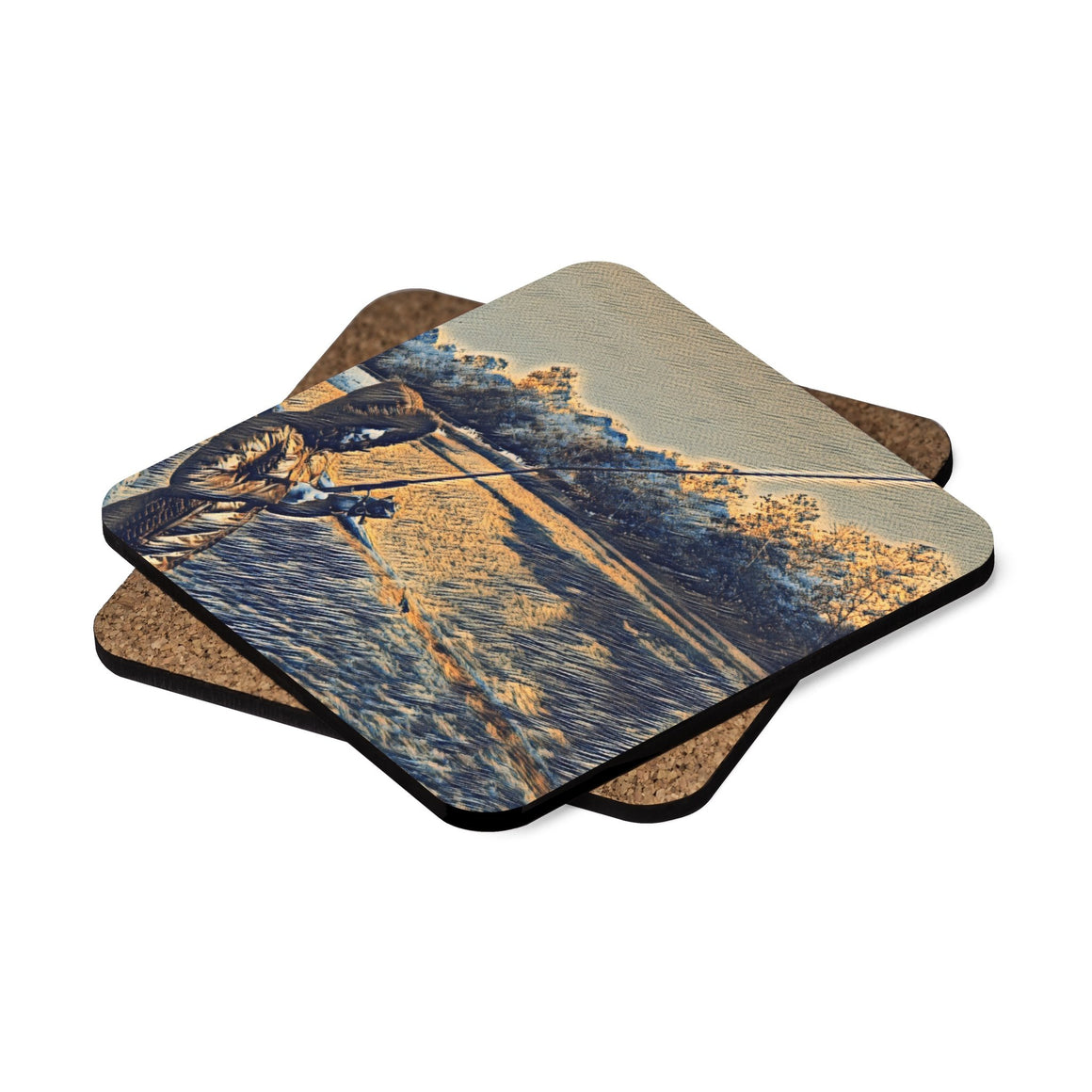 Levi Thang Fishing Design 18 Square Hardboard Coaster Set - 4pcs - I Am A Dreamer