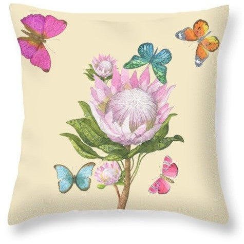 Floral Butterfly Watercolor Decorated Throw Pillow - I Am A Dreamer