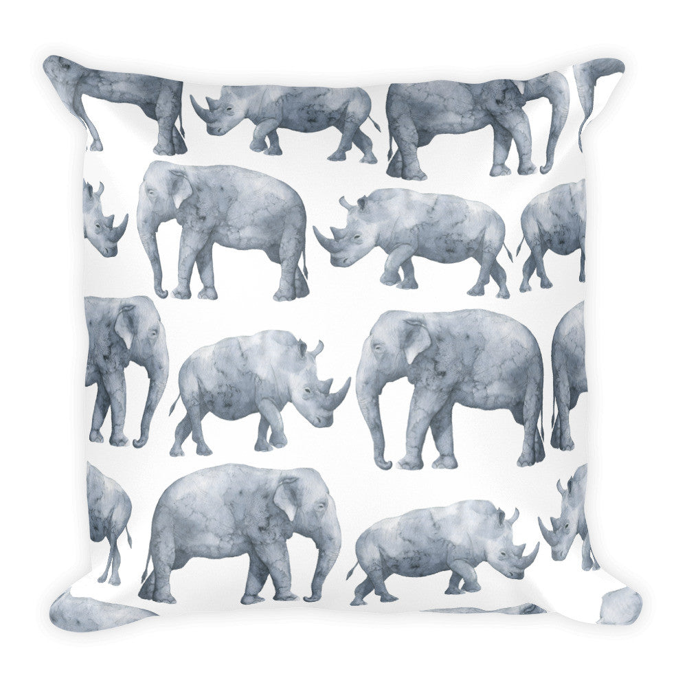 I Am A Dreamer Safari Theme Elephant Rhino Throw Pillow - I Am A Dreamer