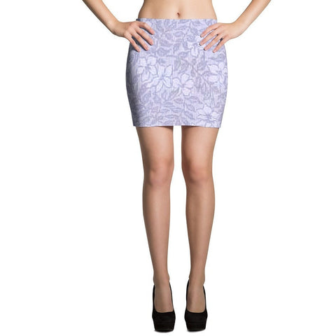I Am A Dreamer Mini Skirts 1888 Purple Flowers- I Am A Dreamer