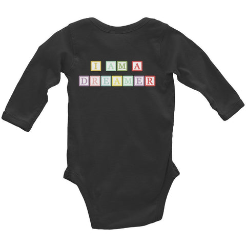 I Am A Dreamer Block Letter Infant Long Sleeve Bodysuit - I Am A Dreamer