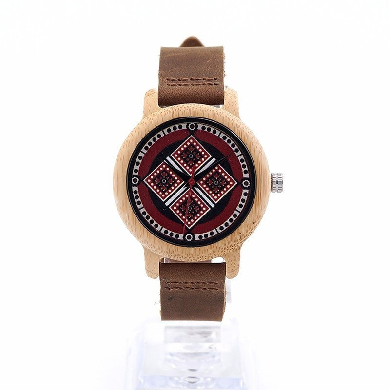 Tribal Pattern Bamboo Wooden Quartz Watch with Leather Strap Wristwatch - Levi Emmanuel