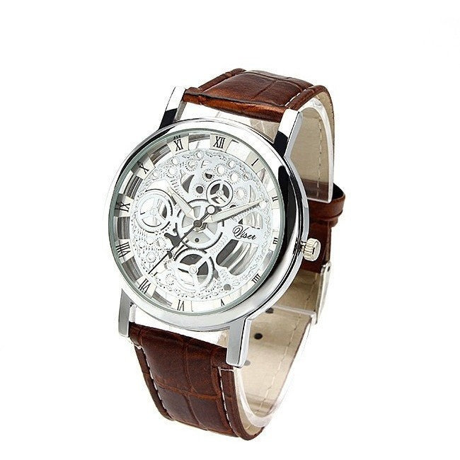 Men Luxury Imitation Mechanical PU Leather Strap Quartz Wristwatches - Levi Emmanuel