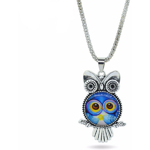 Vintage Fashion Owl Pendant Glass cabochon Silver Chain Necklace