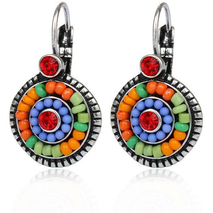 Dreamer Native Tribal Multi-color Resin Beads Crystal Clip Earrings - I Am A Dreamer