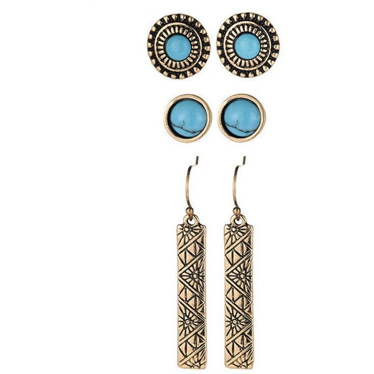 Vintage Gold Silver White Blue Turquoise Stone Earrings 3 Pairs/Lot - I Am A Dreamer