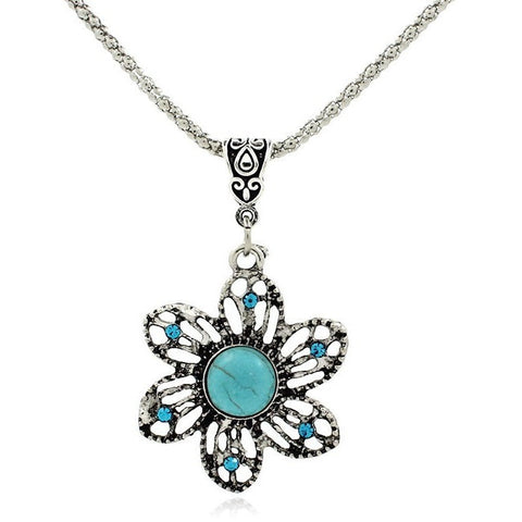 Vintage Fashion Retro Sunflower Turquoise Pendant Neckalace