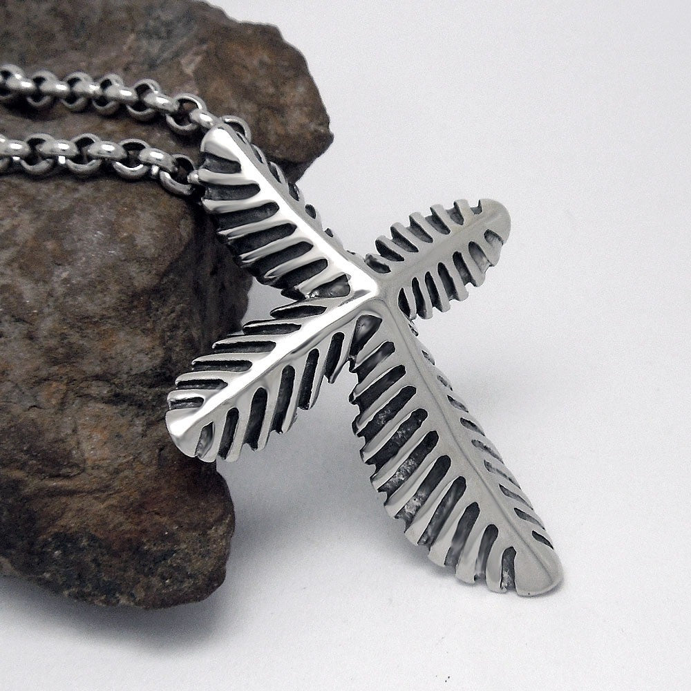 Native American Vintage Titanium Leaf Cross Pendant Tribal Necklace - I Am A Dreamer