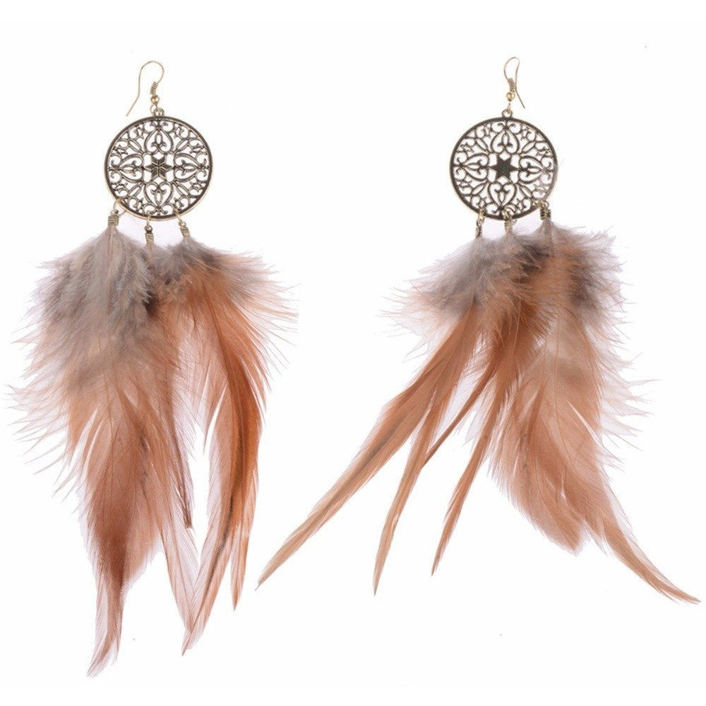 Dreamer American Native Feather Round Drop Ethnic Earrings Jewelry - I Am A Dreamer