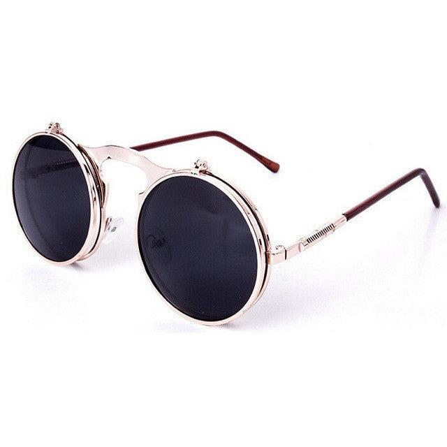 Dreamer Retro Steampunk Vintage Round Flip Up Sunglasses - I Am A Dreamer