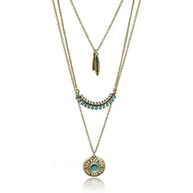 Bohemian Gold plated Beads Vintage Turquoise Pendant Tribal Necklace - I Am A Dreamer