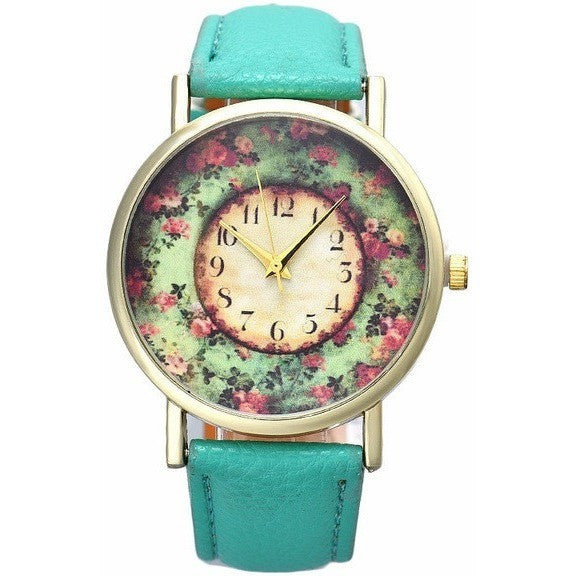 Floral Printed Leather Analog Quartz Wrist Watch - I Am A Dreamer