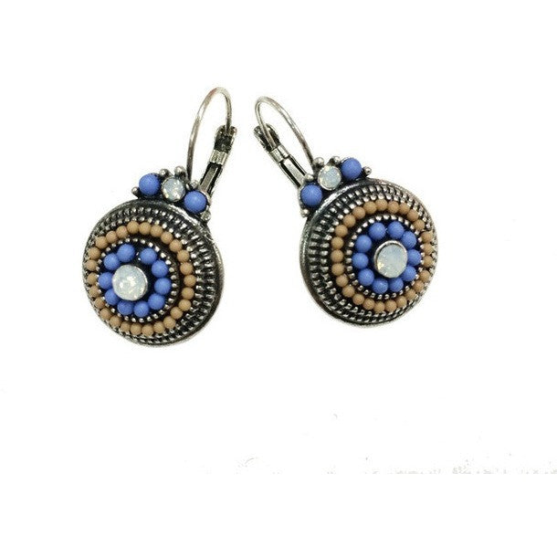Tribal Vintage Silver Brincos Beads Rhinestones Ethnic Clip On Earrings - I Am A Dreamer