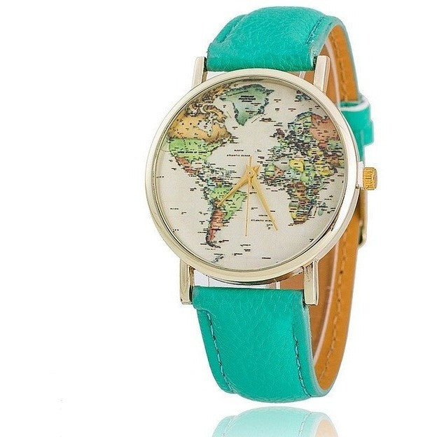 Leather Strap World Map Analog Quartz Luxury Fashion Women Dress Watch - Levi Emmanuel