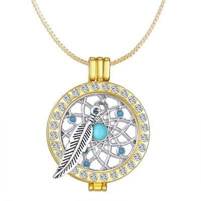 Dreamer Coin Disc Fit 35mm Crystal Holder Feather Pendant Locket Necklace - I Am A Dreamer