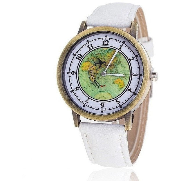 Fashion Global Travel By Plane Map Denim Fabric Band Quartz Watch - Levi Emmanuel