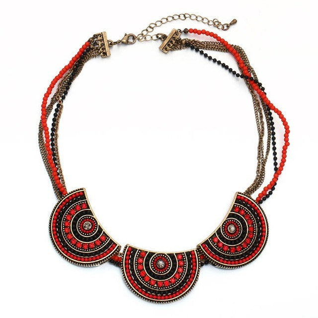 Tribal Fashion Rhinestone Resin Beads Multi-layer Beaded Chain Choker Necklace - I Am A Dreamer