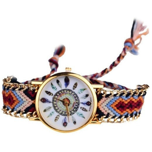 Tribal Feather Figure Knitted Handmade Braided Wristwatches - Levi Emmanuel