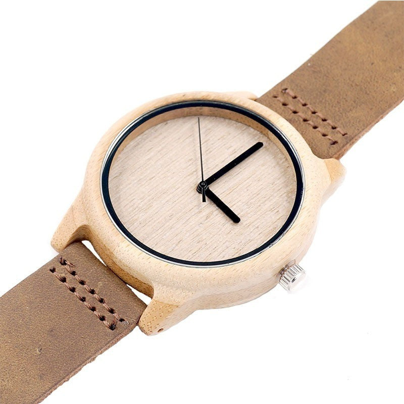 Antique Wooden Bamboo  Round Leather Strap Quartz Unisex Watches - Levi Emmanuel